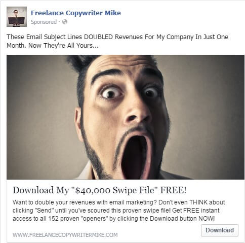 Freelance Copywriter Mike Facebook Ad Examples